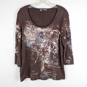 Vintage | Brown Rhinestone Venice Top-H10